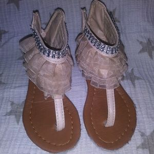 Adorable ruffle toddler sandals with rhinestones